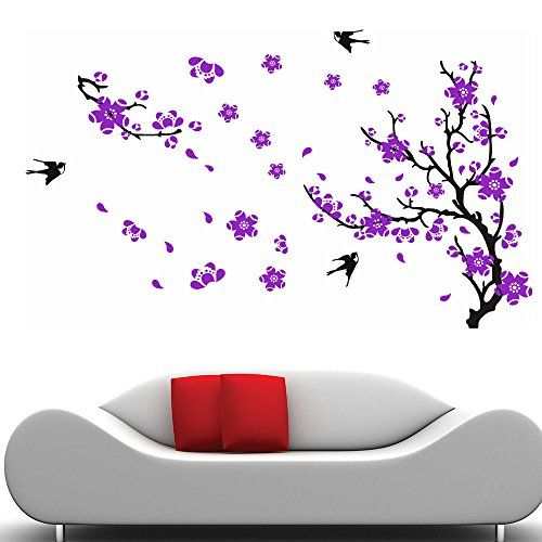 New Way Decals Wall Sticker for Living Room - Black Branch with Purple Flower Stickers for Home Decor