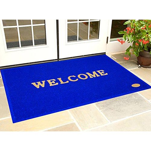 Kuber Industries Dirt Rubb Off Clean Footwear PVC Welcome Doormat for Offices,Hotel,Restaurant, Home,Shop Color-Blue (Extra Large Size : 90 cm x 60 cm x 1 cm)