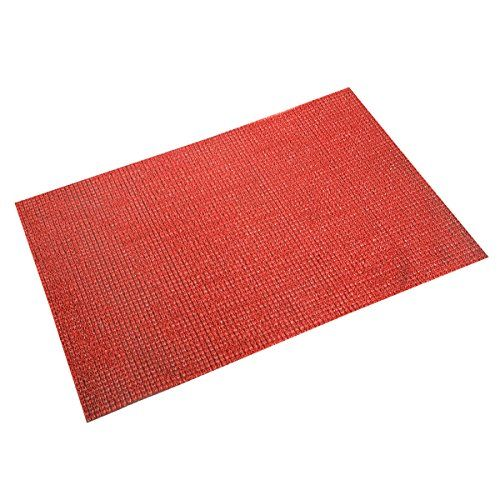 Kuber Industries Dirt Rubb Off Clean Footwear PVC Thick Doormat for Offices,Hotel,Restaurtaurant,Home, Color- Red (Extra Large) Size : 90 cm x 60 cm x 1.5 cm