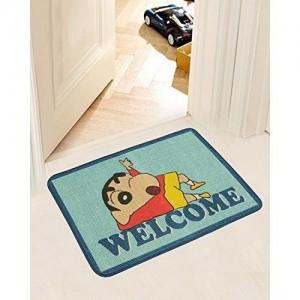 Saral Home Shinchan Jute-Cotton Print Anti Slip Door Mat- 40x60 cm