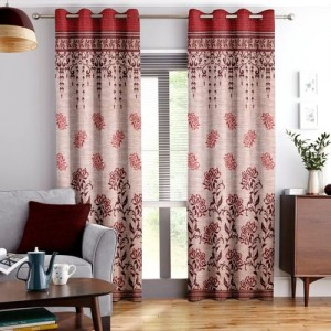 Story@Home 215 cm (7 ft) Jacquard Door Curtain (Pack Of 3)(Geometric, Maroon)