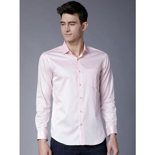 Black coffee Men Pink Slim Fit Solid Casual Shirt