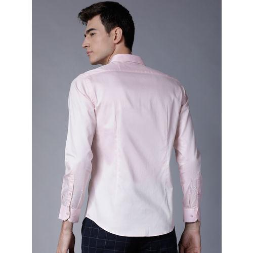 Black coffee Men Pink Slim Fit Solid Casual Shirt