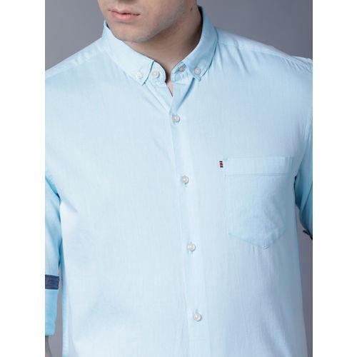 Black coffee Men Blue Slim Fit Solid Casual Shirt