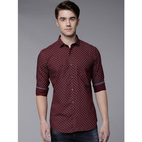 Black coffee Men Brown Slim Fit Printed Casual Shirt
