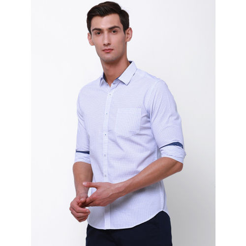Black coffee Men White & Blue Slim Fit Checked Casual Shirt