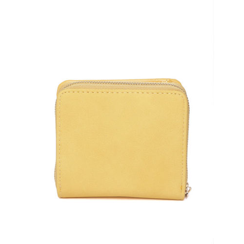 Accessorize Women Yellow Solid Zip Around Wallet