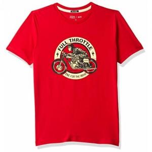 Indian Terrain Boys' Plain Regular Fit T-Shirt (ITBTS00171_Red_Medium)