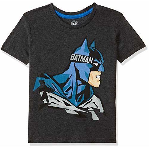 Batman By Kidsville Boys' Plain Regular Fit T-Shirt (DC1GBT170_Anthra Melange_2/3)