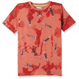 Lee Cooper Boys' Animal Print Regular Fit T-Shirt (LCBTS-4181-808-B-HS-AOP-E_Orange_9-10 Years)