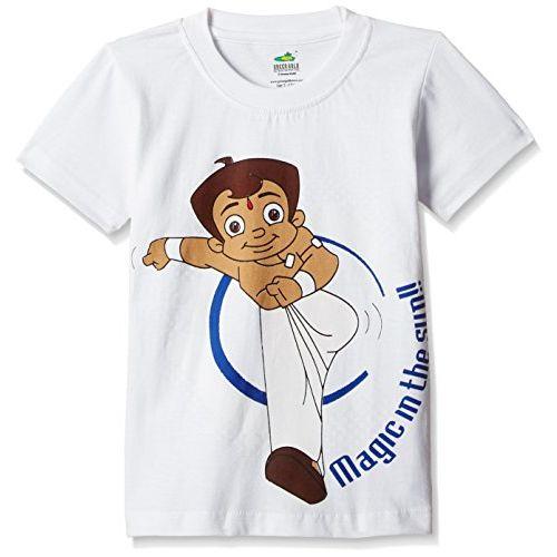 Chhota Bheem Boys' T-Shirt (GGAPP-CB294D_ White_7-8 Years)