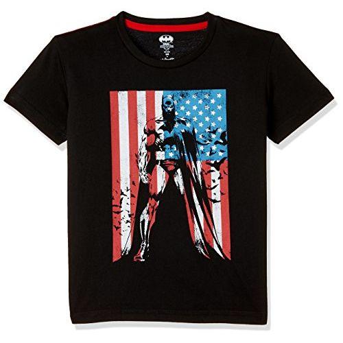 Batman Boys' Plain Regular Fit T-Shirt (BM1FBT723_Black_4/5)