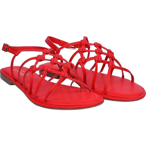 Jade Red Polyurethane Solid Flat Sandals