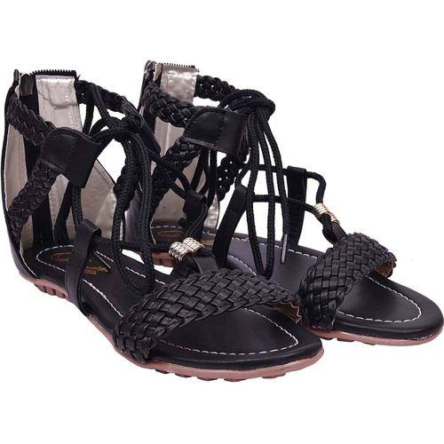 Jade Women Black Flats Sandals
