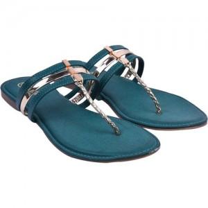 Jade Women Green Synthetic Slip-On Chappals