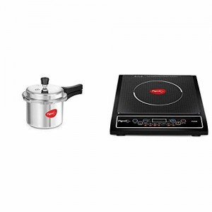 Pigeon By Stovekraft Favourite Induction Base Aluminium Pressure Cooker with Outer Lid, 3 Litres (Silver) + Cruise 1800-Watt Induction Cooktop (Black)