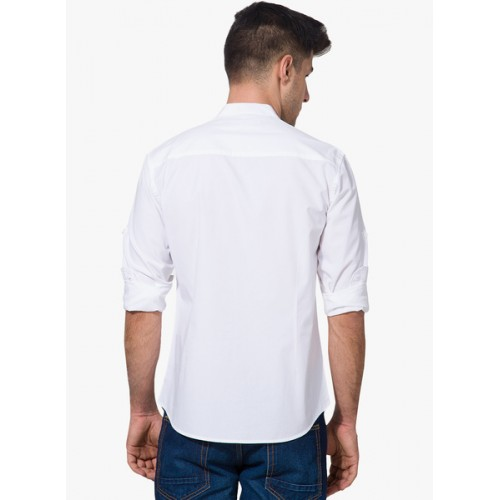 Highlander White Cotton Solid Casual Shirt