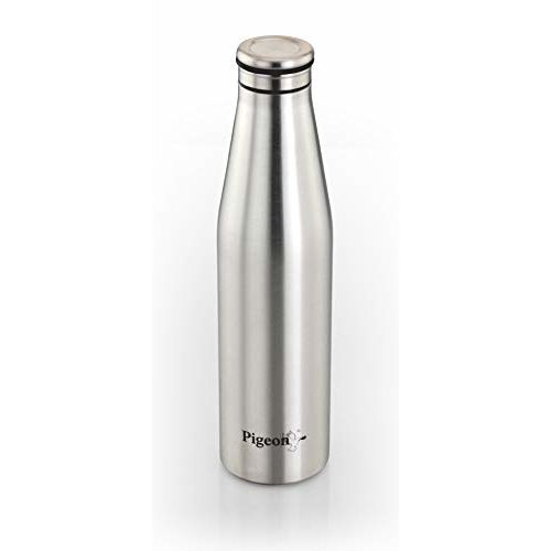 Pigeon Smiley Stainless Steel Fridge Bottle, 1 Litre, Silver