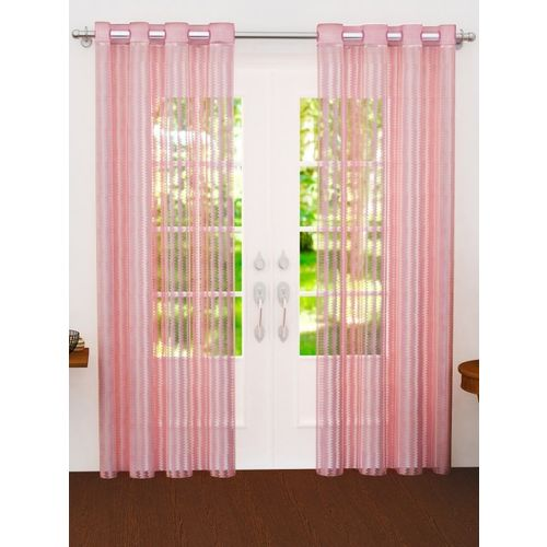Story@home Pink Sheer Set of 2 Door Curtains