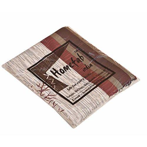 Homefab India Jute Modern 4 Piece Eyelet Polyester Door Curtain Set - 7ft, Maroon