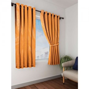 Bombay Dyeing 153 cm (5 ft) Polyester Window Curtain (Pack Of 2)(Self Design, Orange)