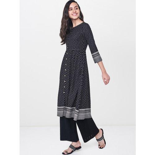 Global Desi Women Black Printed A-Line Kurta