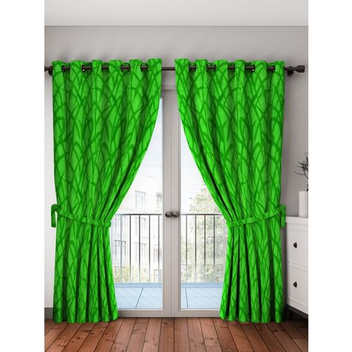 Bombay Dyeing 214 cm (7 ft) Polyester Door Curtain (Pack Of 2)(Printed, Green)