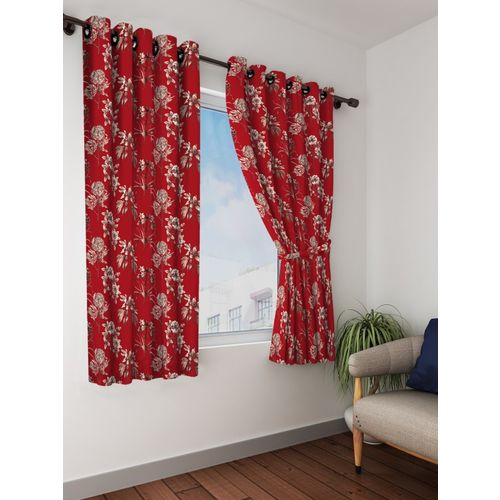 Bombay Dyeing 153 cm (5 ft) Polyester Window Curtain (Pack Of 2)(Floral, Maroon)