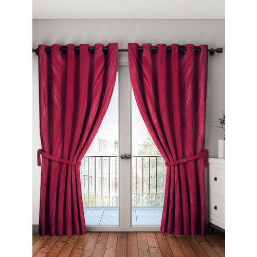Bombay Dyeing 274 cm (9 ft) Polyester Long Door Curtain (Pack Of 2)(Self Design, Maroon)