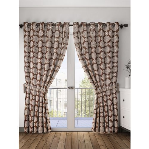 Bombay Dyeing 214 cm (7 ft) Polyester Door Curtain (Pack Of 2)(Motif, Brown)