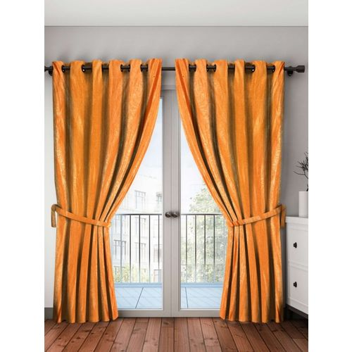 Bombay Dyeing 214 cm (7 ft) Polyester Door Curtain (Pack Of 2)(Self Design, Orange)