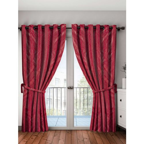 Bombay Dyeing 214 cm (7 ft) Polyester Door Curtain (Pack Of 2)(Self Design, Red)