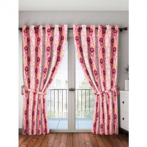 Bombay Dyeing 274 cm (9 ft) Polyester Long Door Curtain (Pack Of 2)(Floral, Maroon)