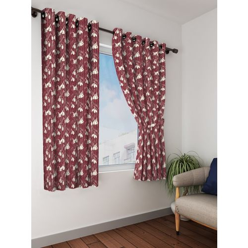 Bombay Dyeing 153 cm (5 ft) Polyester Window Curtain (Pack Of 2)(Printed, Maroon)