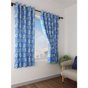 Bombay Dyeing 153 cm (5 ft) Polyester Window Curtain (Pack Of 2)(Floral, Blue)