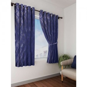 Bombay Dyeing 153 cm (5 ft) Polyester Window Curtain (Pack Of 2)(Printed, Blue)