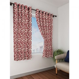Bombay Dyeing 153 cm (5 ft) Polyester Window Curtain (Pack Of 2)(Printed, White, Maroon)