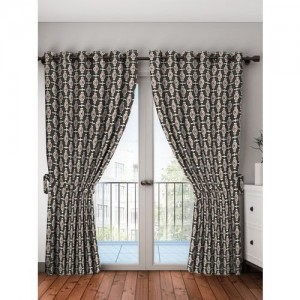 Bombay Dyeing 214 cm (7 ft) Polyester Door Curtain (Pack Of 2)(Printed, Multicolor)