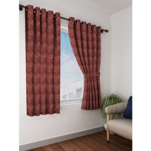 Bombay Dyeing 153 cm (5 ft) Polyester Window Curtain (Pack Of 2)(Printed, Red)