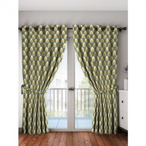 Bombay Dyeing 214 cm (7 ft) Polyester Door Curtain (Pack Of 2)(Floral, Multicolor)
