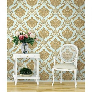 Eurotex Textured vinyl PVC coated 3D sky blue damask wallpaper for walls home decoration (57sqft/Per roll)-6245