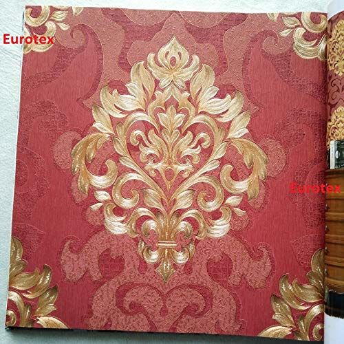 Eurotex 57 sqft Textured Vinyl PVC Coated 3D Beautiful red Damask Wallpaper Rolls for Wall/Home decoration-681094
