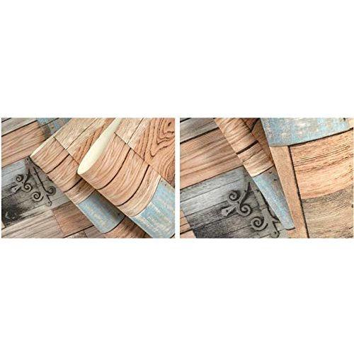 EUROTEX Vinyl 3D Wood Bricks Pattern Wallpaper Roll for Wall Decoration, 57 sq.ft, Multicolour