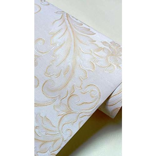 Eurotex Textured PVC Coated 3D White Damask Wallpaper Home Decoration 57SQFT 3200