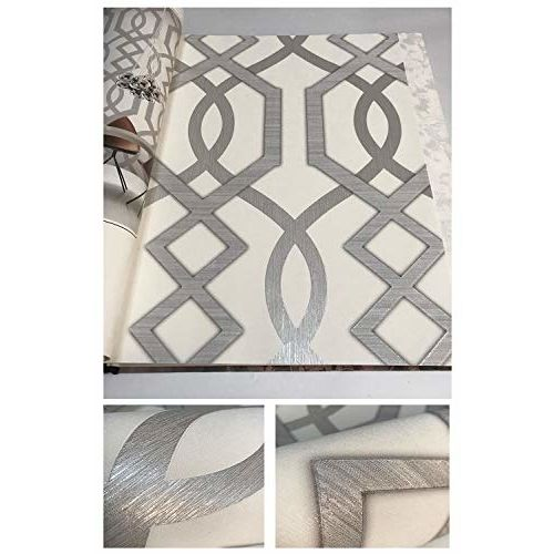 Eurotex Textured Vinyl PVC Coated 3D White Wallpaper for Interior Decoration (57sqft/Per roll)7264
