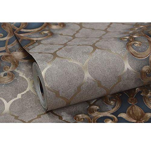 Eurotex 57 SQFT Textured Vinyl PVC Coated 3D Beautiful Damask Wallpaper Rolls for Walls/Home decoration-L37205