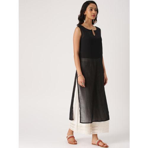IMARA Women Black & Navy Blue Solid Straight Kurta with Shrug
