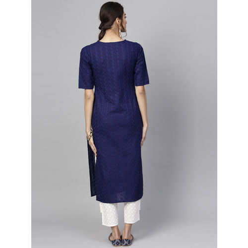 Libas Women Navy Blue & White Embroidered Kurta with Trousers