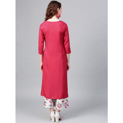 Yufta Women Pink & Sea Green Yoke Design Kurta with Palazzos