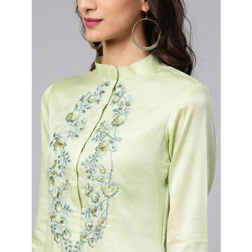 Inddus Women Sea Green & Blue Yoke Design Kurta with Palazzos
